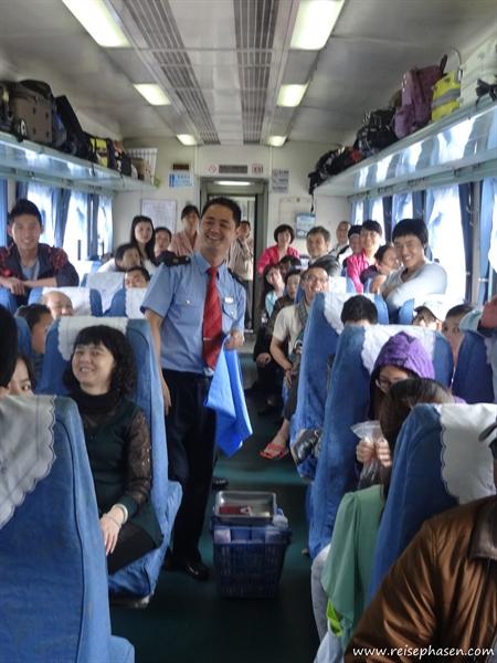 Verkaufsveranstaltung im Zug